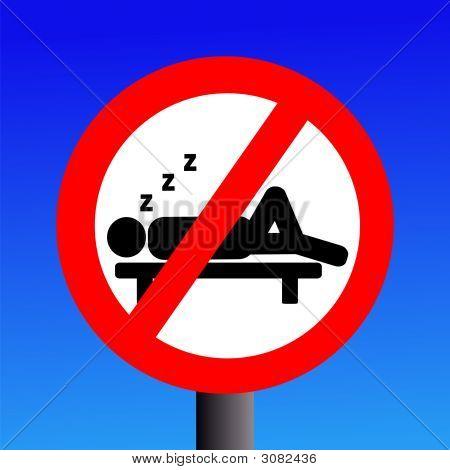 No Sleeping Sign