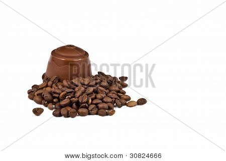Real Coffee And A Capsule For Coffee-machine