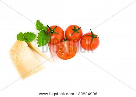 French Cheese Brie And Parmesan With Cherry Tomatoes