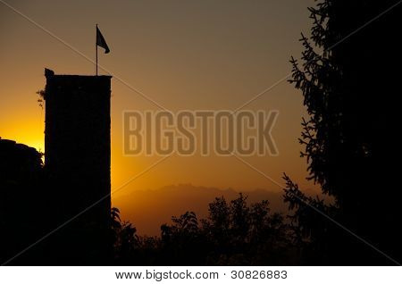 Italy - Udine - Sunset At Rive D Arcano Castle