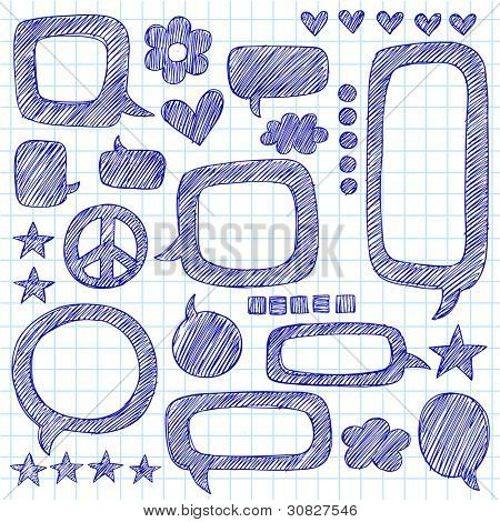 Speech Bubbles Sketchy Doodle Hand-Drawn Icon Set- Vector Illustration Design Elements on Lined Sketchbook Paper Background
