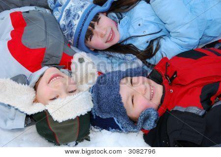 Three Children In Winter