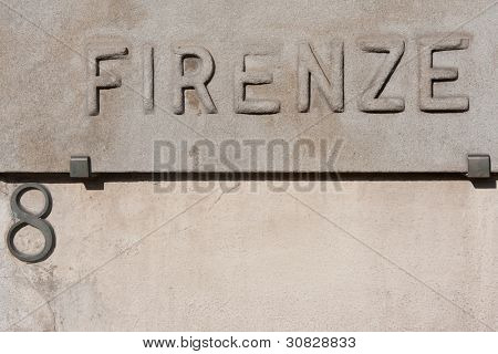 Italian street sign of florence in italy