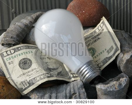 In the red. Throwing away dollars. Incandescent light bulb, ten dollar bill, fossils.
