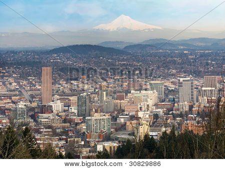 Portland Oregon Downtown Cityscape And Mt Hood