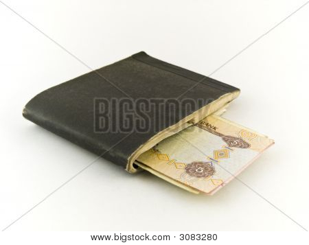 Old Chequebook And Five Dirham Note On White Background