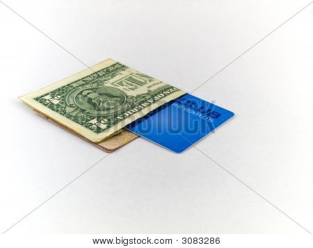 One Dollar Bill And Membership Club Card On White Background