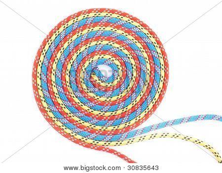 espiral de la cuerda roja, azul, amarillo