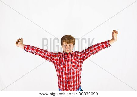 Friendly Looking Young Boy With Red Shirt
