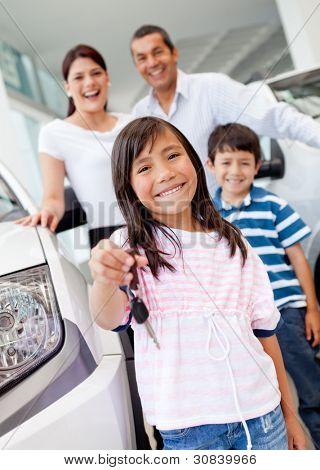 Happy girl holding keys to new family car