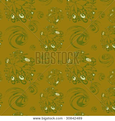 Seamless Background With Green Elements