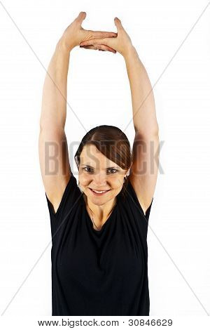 Attractive Woman Trains  Yoga