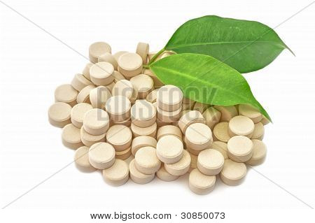 Tablets Medicine Bio Natural On White Background