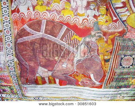 Religious Paintings Inside Of Rock Temple In Dambulla