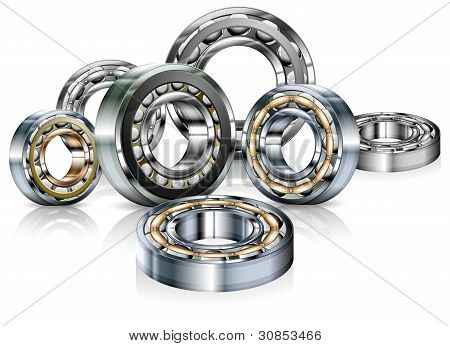 Metal Bearings On White