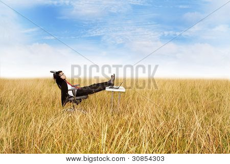Businessman Relaxing Outdoor