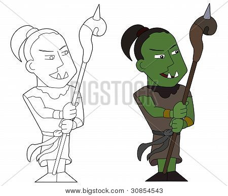 Cartoon Of Orc Warrior