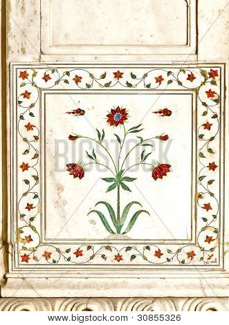 Detail, Inlaid Flowers On Marble Column, Hall Of Private Audience Or Diwan I Khas At The Lal Qila Or
