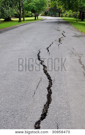 Terremoto de Christchurch - grietas en Mona Vale