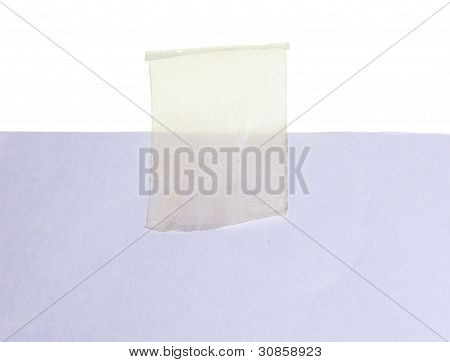 white paper and tape on white background