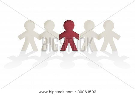Man Paper Joining Together With Highlight With Red On The Center, Business Conceptual