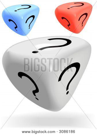 3 Brillante 3 dados de misterio cara rodillo un signo de interrogación