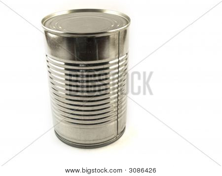 One Shiny Food Tin Can On White Background