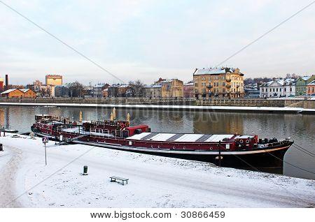 Vistula And Red Pleasure Boat In Krakow, Poland