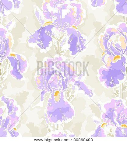 Seamless pattern with iris