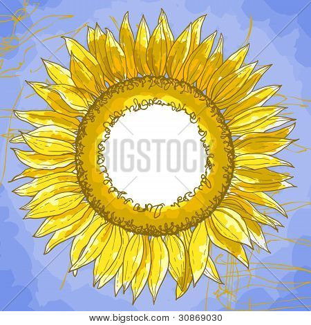 The square frame with sunflowers