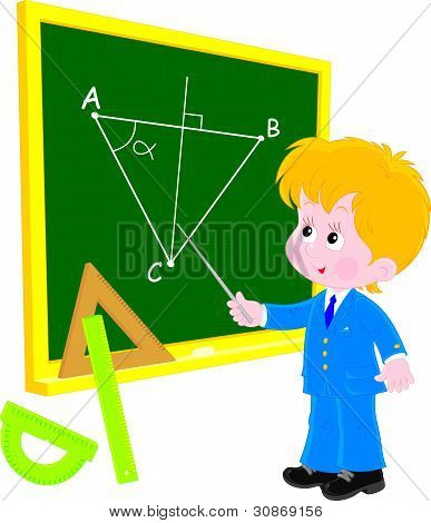 Schoolboy at lesson Geometry