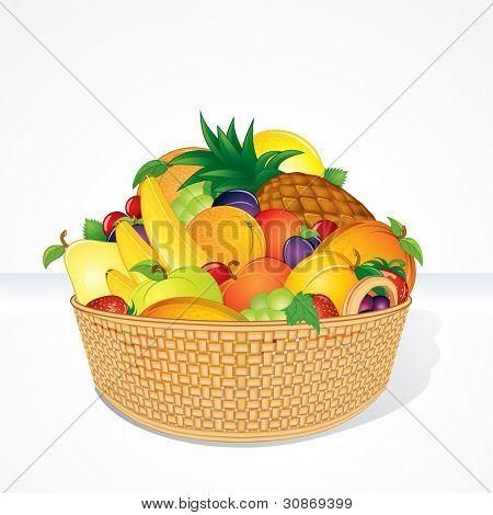 Delicious Fruit Basket. Isolated Cartoon Illustration