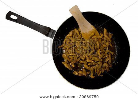 Pan with meat
