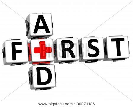 3D First Aid Crossword Block Button Text