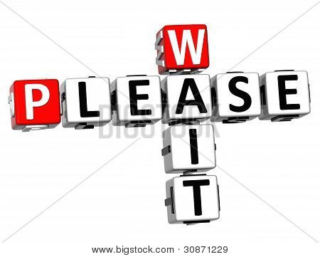 3D Please Wait Crossword Text