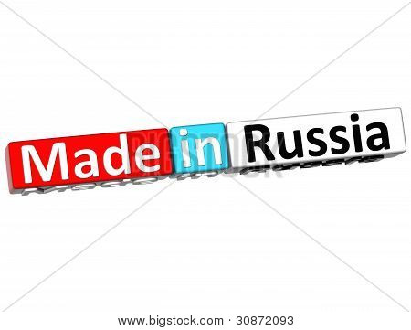 3D Made In Russia Over White Background