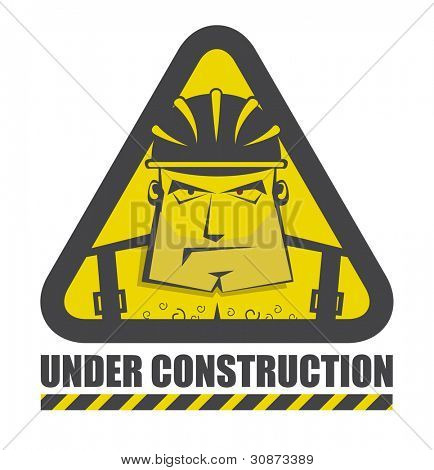 Under construction icon with funny construction worker for internet site