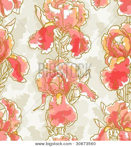 Seamless pattern with iris