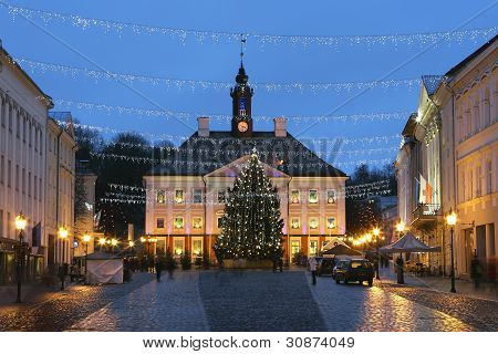 Tartu Town Hall Square At Christmas Time