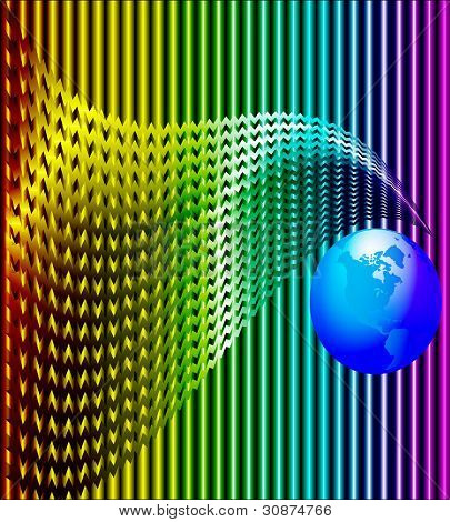 Background With Wave And Blue Globe