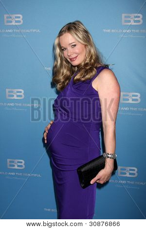 LOS ANGELES - MAR 10:  Jennifer Gareis arrives at the Bold and Beautiful 25th Anniversary Party at the Perch Resturant on March 10, 2012 in Los Angeles, CA