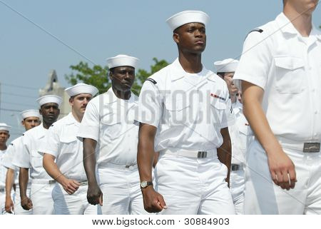 NEW YORK - MAY 29:  U.S. sailors march in the Little Neck/Douglaston Memorial Day Parade May 29, 2006 in Queens, NY.