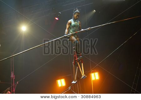 JAMAICA, NY - APRIL 30:  A high wire walker performs at the UniverSoul Circus April 30, 2005 in the Jamaica neighborhood of New York City.