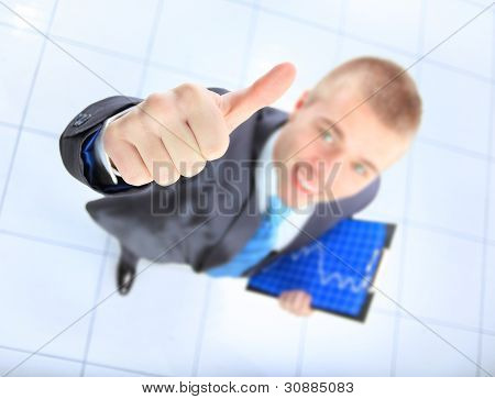 Top view of businessman giving OK gesture