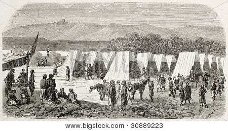 Turcos encampment in Toulon, France, old illustration (Corps of Algerian riflemen in French army).  Created by Gaildrau, published on L'Illustration, Journal Universel, Paris, 1863