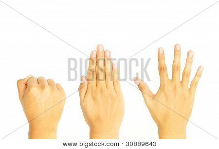 fist, close, and open hand