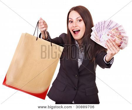 Woman with  money Russian rouble and shopping bag. Isolated.