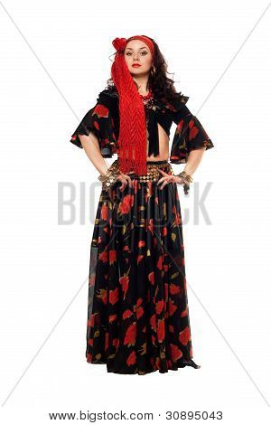 Passionate Gypsy Woman In A Black Skirt