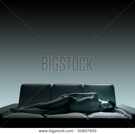 Young Woman Portrait Lying On Couch 2