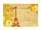 Vintage postcard with Eiffel Tower and rose flowers. Lettering postcard in french. Isolated on whi poster